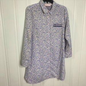 Victoria's Secret Blue Pink White Sleep Shirt Sz M